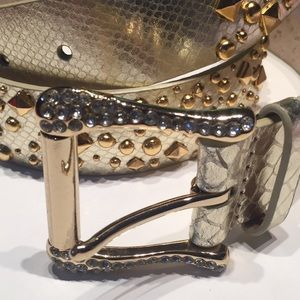"""Accessories - New Gold Belt, studs AuthenticLeather GlamBelt 40"""""""